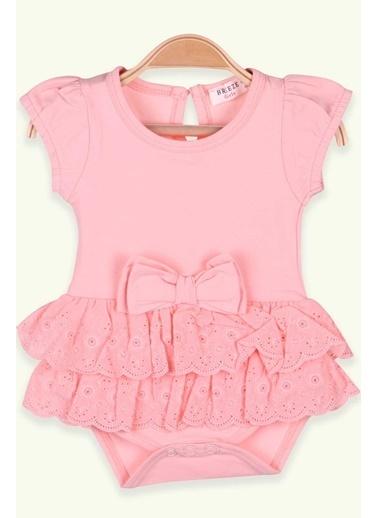Breeze Kız Bebek Zıbın Elbise Fiyonklu Somon (6 Ay-2 Yaş) Somon